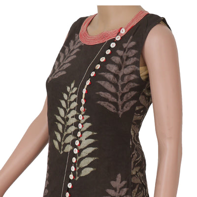 Cotton Kurta Dark Grey and Off white with leaf design