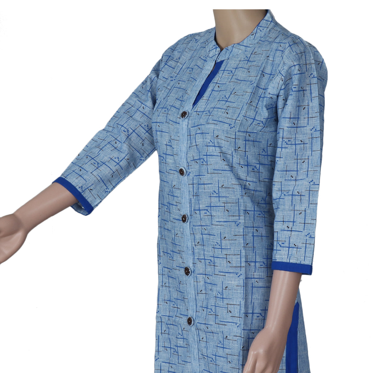 Cotton Kurta Off White Blue with Lines printed