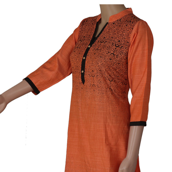 Cotton Kurta Orange and Black with Floral printed