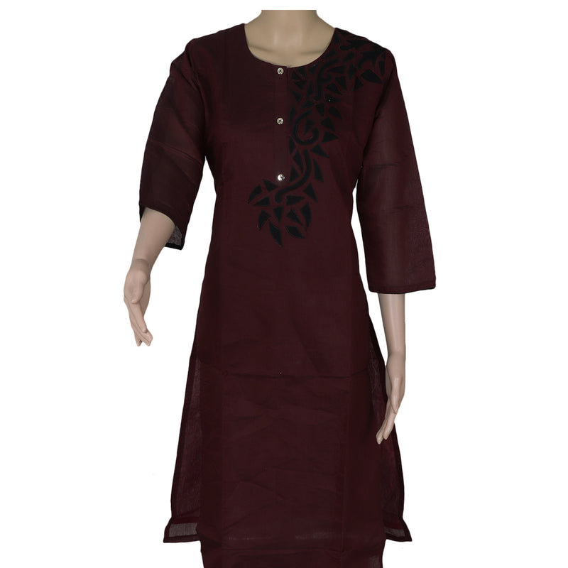 Chanderi Kurta Maroon and Black with Embroidery Work