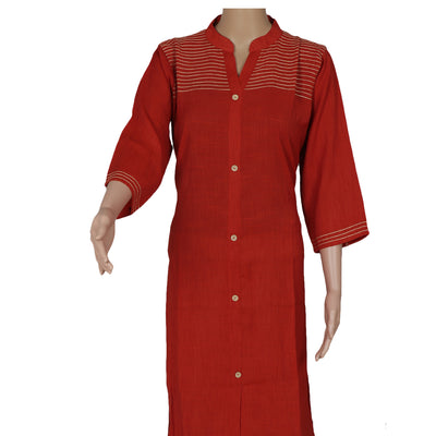 Cotton Kurta Brick Orange with Embroidery work