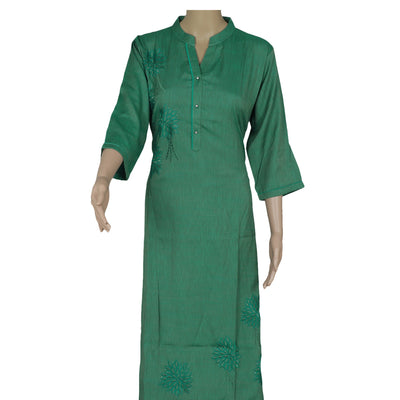 Cotton Kurta Mixed Bluish Green with Embroidery work
