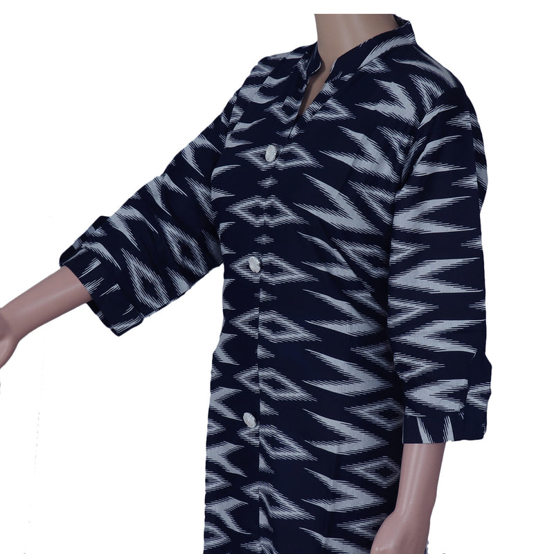 Cotton Kurta Dark Blue with Ikkat design
