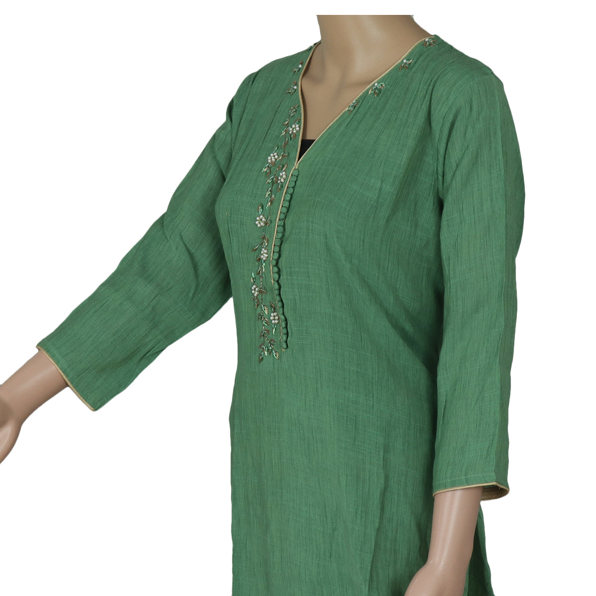Cotton Kurta Green with Embroidery Work