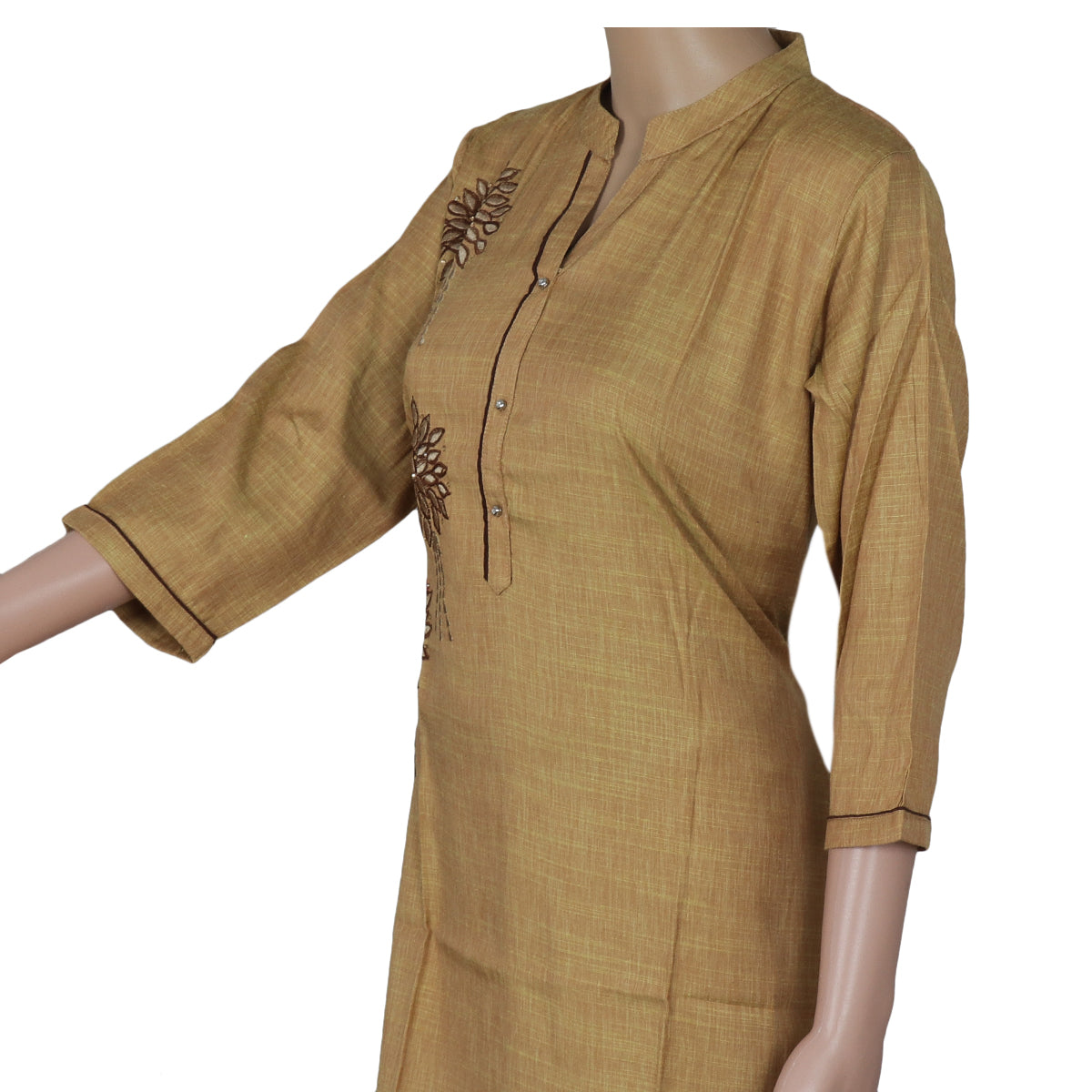 Cotton Kurta Chikoo with Embroidery Work