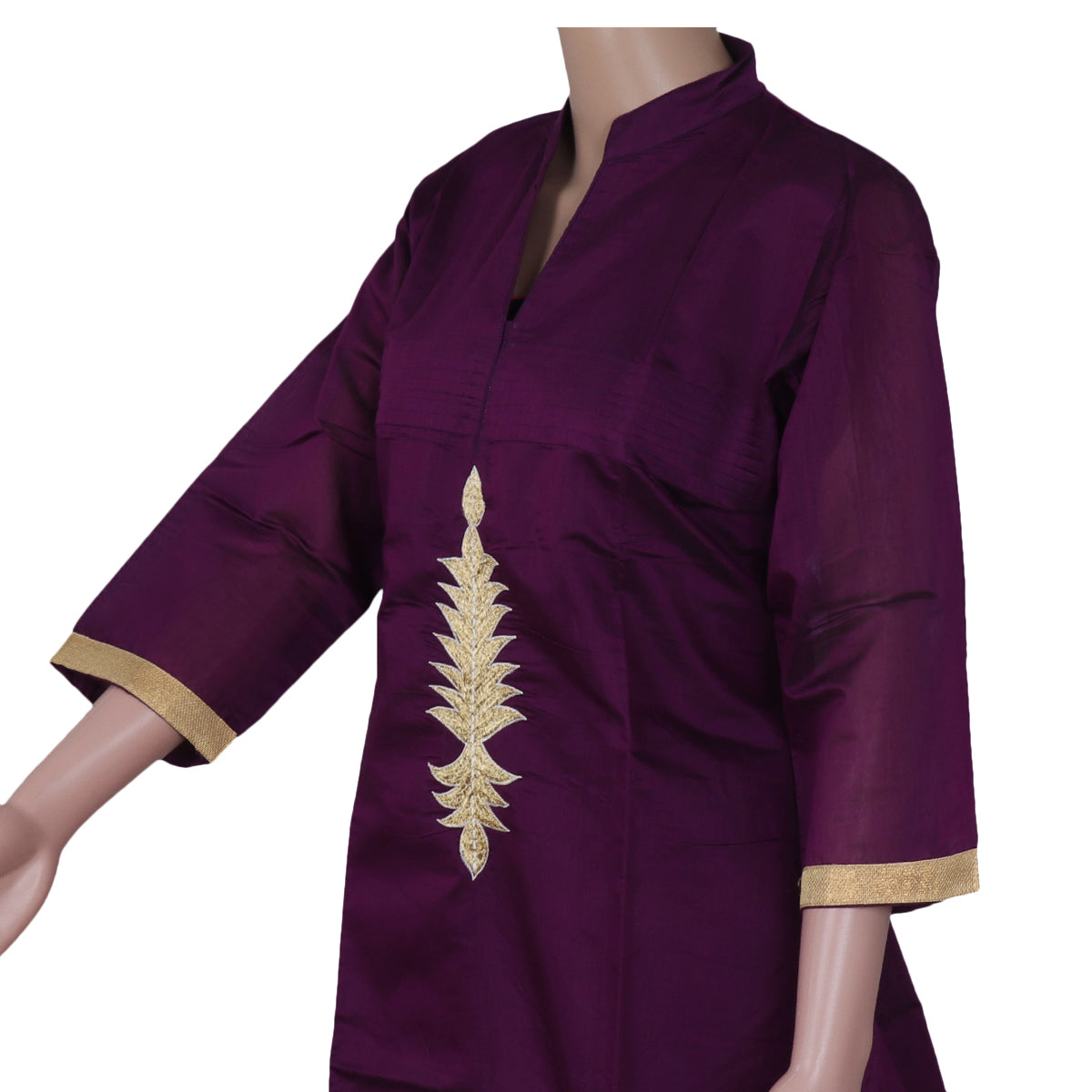Chanderi Kurta Violet with Embroidery Work