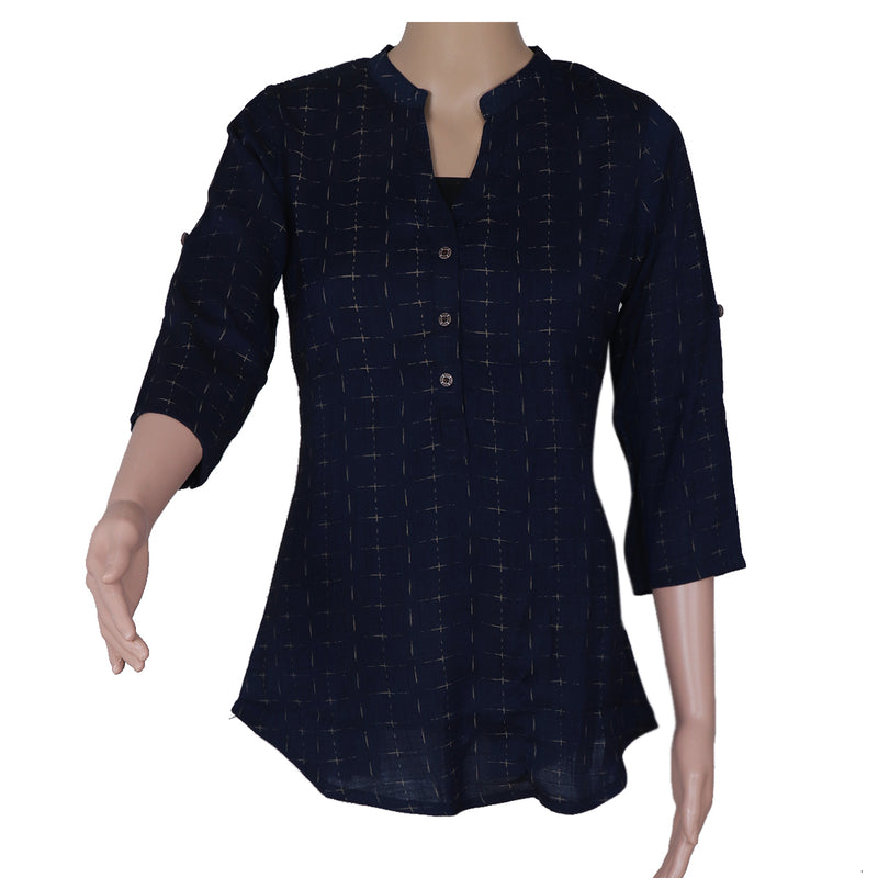 Cotton Kurta Dark Blue with Embroidery Work