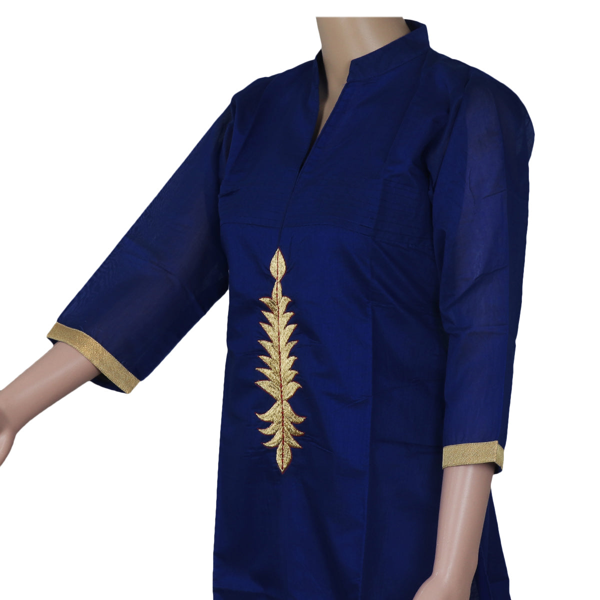Chanderi Kurta Blue with Embroidery Work