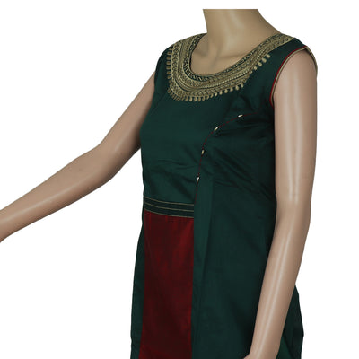 Chanderi Kurta Dark Green and Red with Embroidery Work