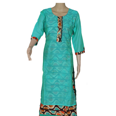 Cotton Kurta Sea Blue and Brown with Half Round Design