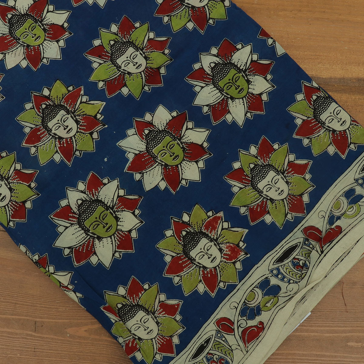 Semi Silk Pure Kalamkari Saree - Blue and Beige with Buddha design