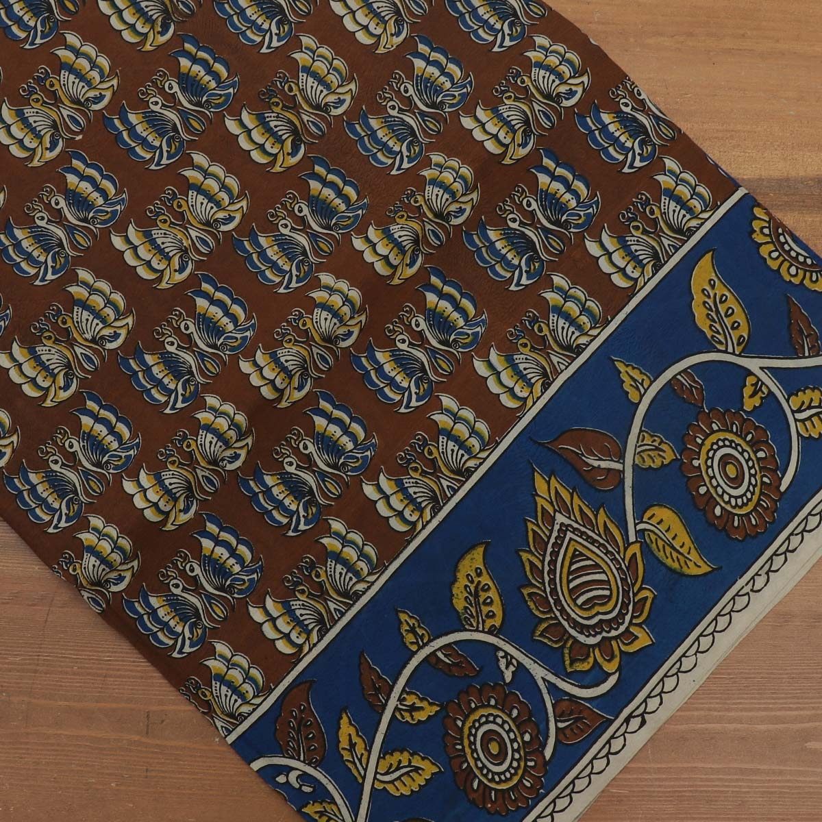 Semi Silk Pure Kalamkari Saree - Brown and Blue with Floral border