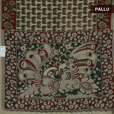 Semi Silk Pure Kalamkari Saree - Beige and Maroon with Floral border
