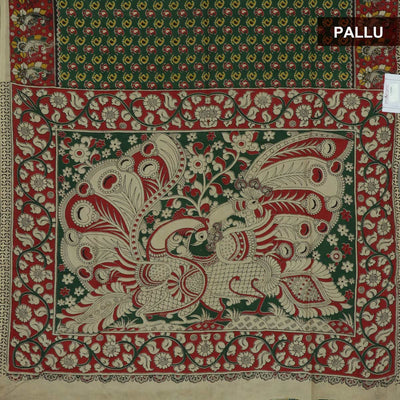 Semi Silk Pure Kalamkari Saree - Green and Maroon with Mango design