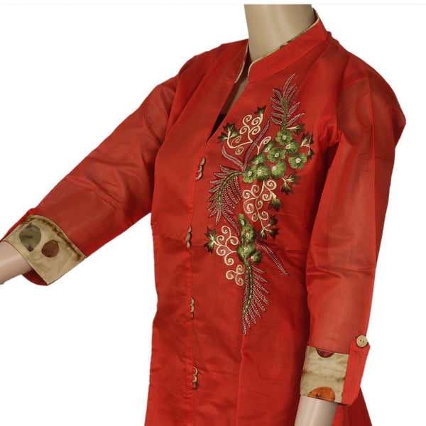 Chanderi Kurta Orange with Leaf embroidery design