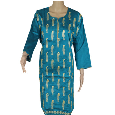 Raw Silk Kurta Blue with Mango embroidery