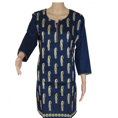 Raw Silk Kurta Navy Blue with Mango embroidery