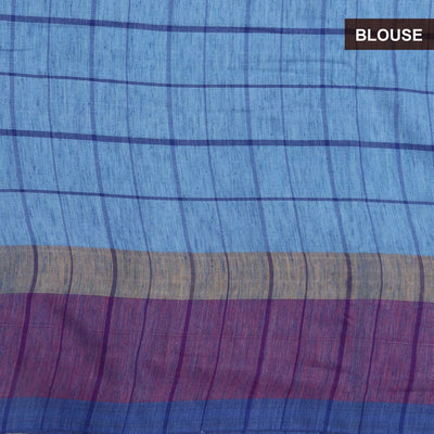 Semi Linen Saree Blue and Pink with Checks and Simple border