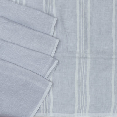 Linen Saree Light Grey half and half with Simple border