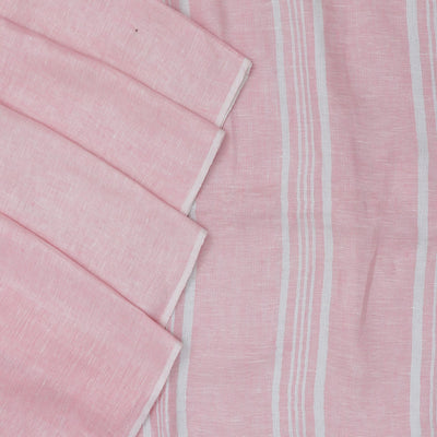 Linen Saree Light Pink half and half with Simple border