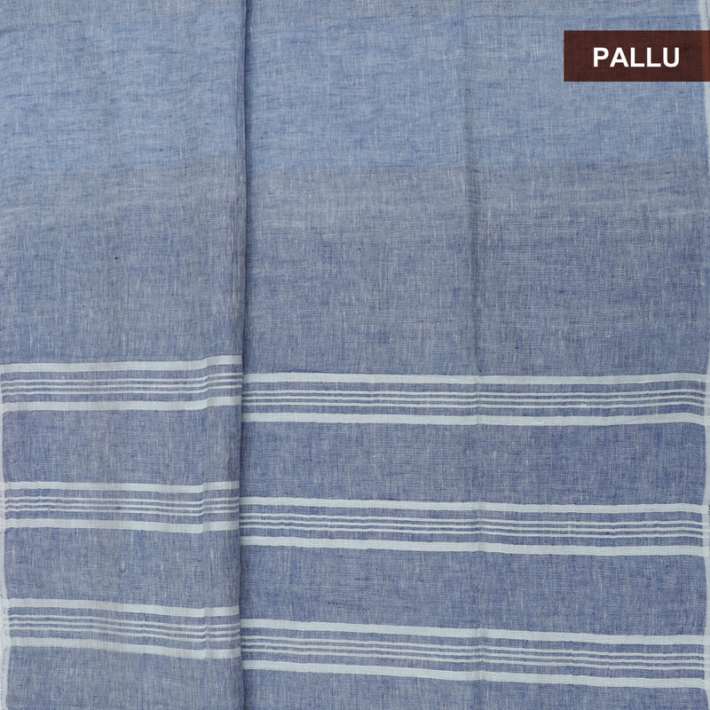 Linen Saree Blue half and half with Simple border