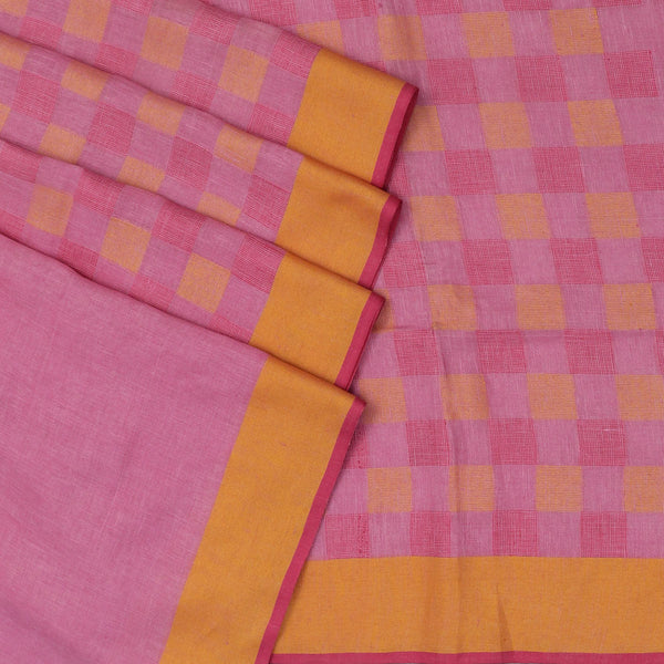 Handblock printed Linen Saree Pink and Checked Pink,Yellow with Simple border