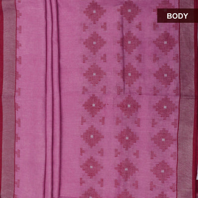 Linen Saree Pink and Maroon with Simple border