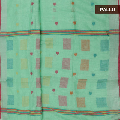 Linen Saree Mint Green and pink with Simple border