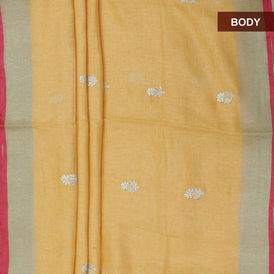 Linen Saree Yellow and pink with Simple border