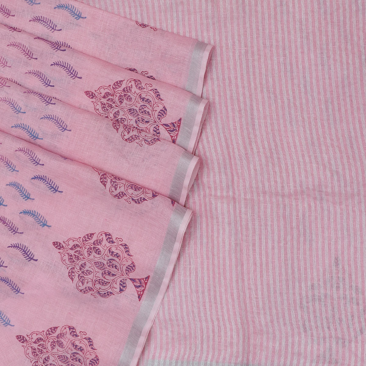 Handblock printed Linen Saree Pink and Printed leaf with Simple border