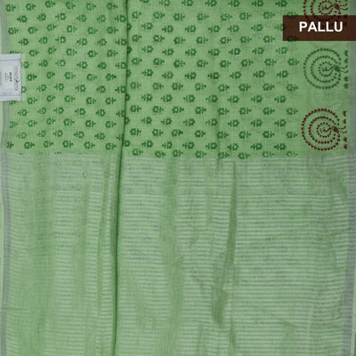 Handblock printed Linen Saree Pista Green with Flower design and Peacock with Silver border