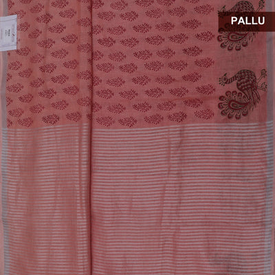 Handblock printed Linen Saree Peach  with Leaf design and Peacock with Silver border