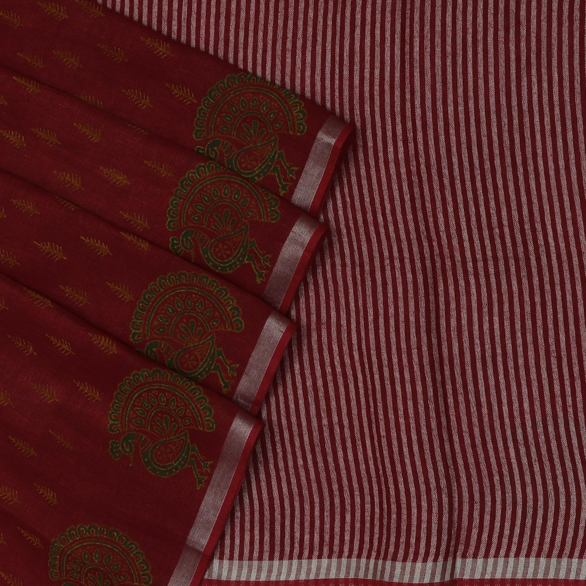 Handblock printed Linen Saree Maroon with Leaf design and Peacock with Silver border