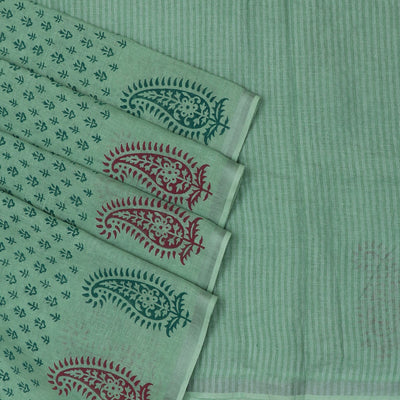 Handblock printed Linen Saree Fern Green with Leaf design and Silver border