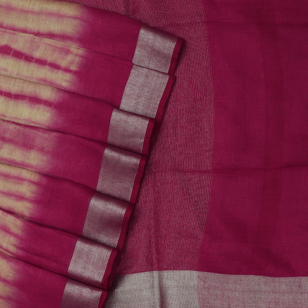 Pure Linen Saree Sandal and Magenta with Silver border