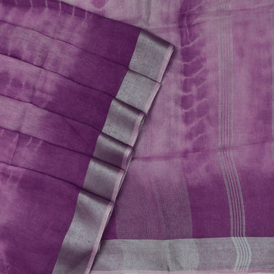 Pure Linen Saree lavender with Silver border