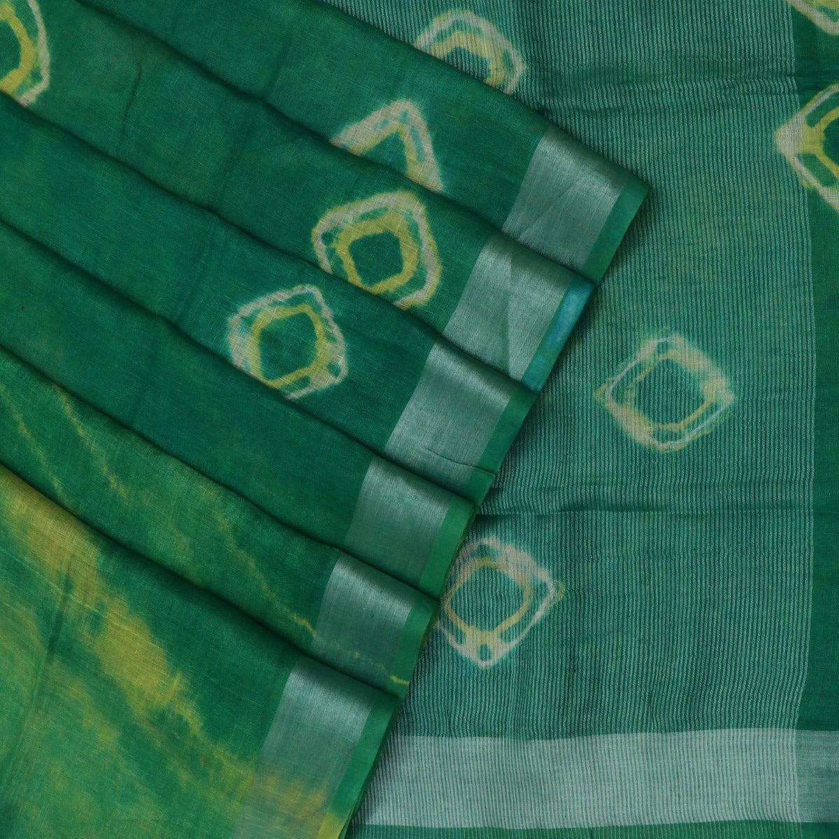 Pure Linen Saree Green and Yellow with Silver border