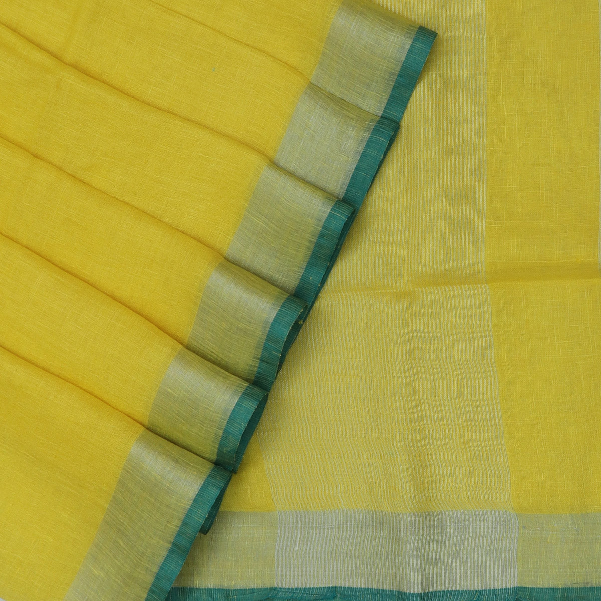 Pure Linen Saree Yellow and Green Shade with Silver border