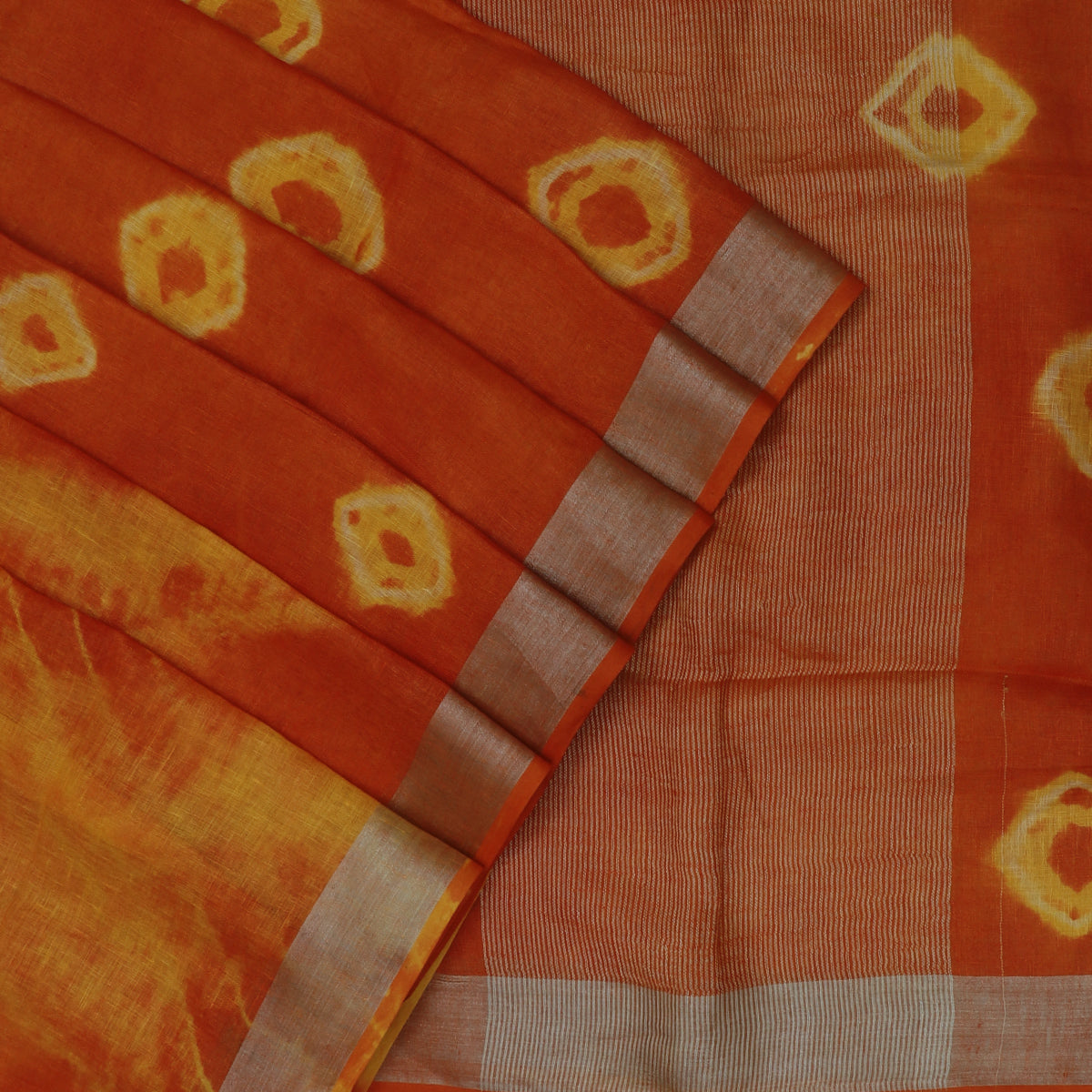 Pure Linen Saree Orange and Yellow with Silver Zari border