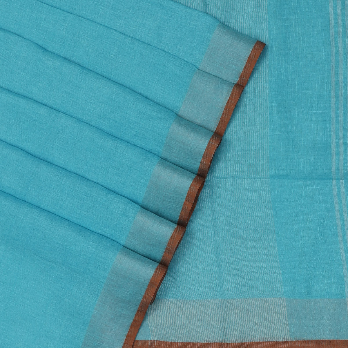 Pure Linen Saree Sky Blue and Brick Orange with Silver border