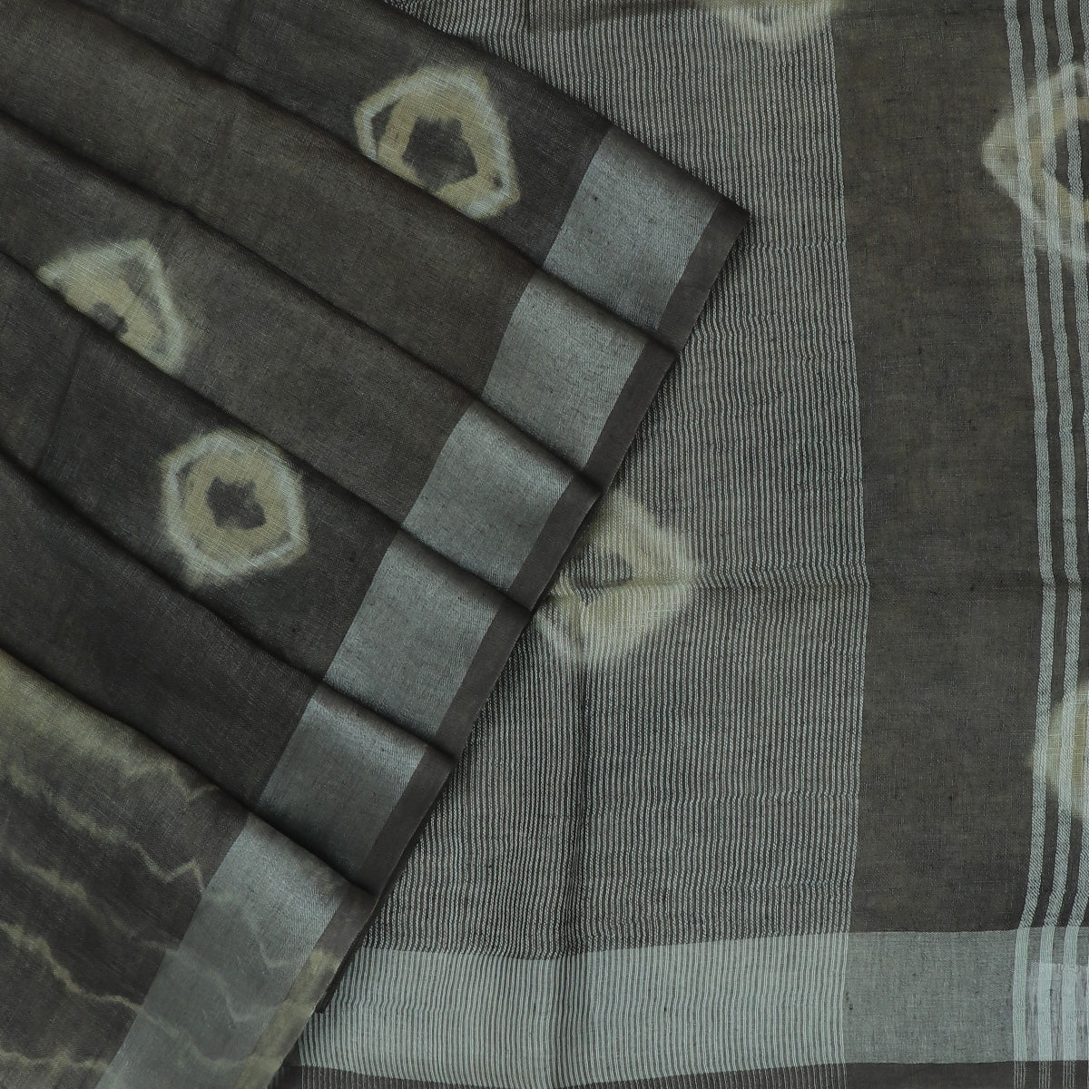 Pure Linen Saree Grey with Silver border