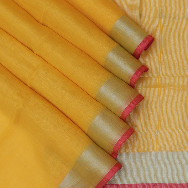 Linen Saree yellow with silver Zari border with Pink Blouse for Rs.Rs. 2190.00 | Linen Sarees by Prashanti Sarees
