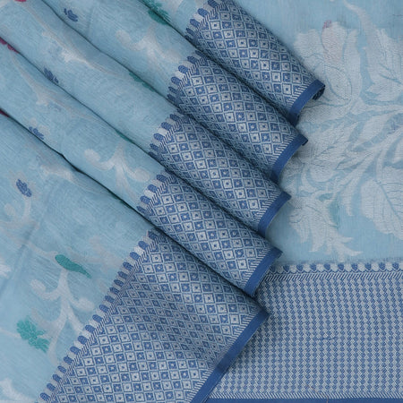 Jute Linen Saree Light Blue with Floral Thread zari and Blue with thread Border with Blue Blouse
