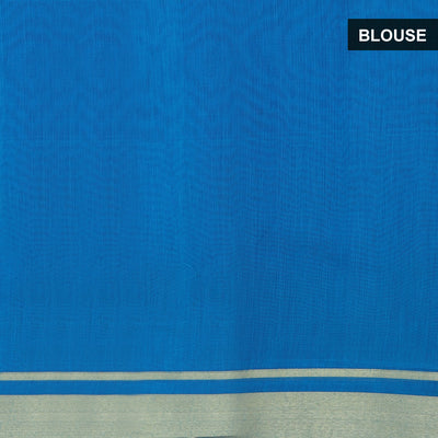 Mercerised Cotton Saree Blue and Pink with floral border for Rs.Rs. 2195.00 | by Prashanti Sarees