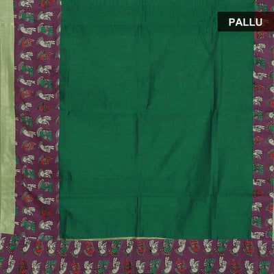 Mercerised Cotton Saree Green and Violet with kalamkari border