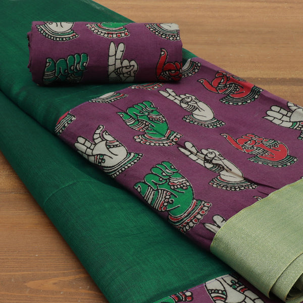 Mercerised Cotton Saree Green and Violet with kalamkari border for Rs.Rs. 1430.00 | Cotton Sarees by Prashanti Sarees