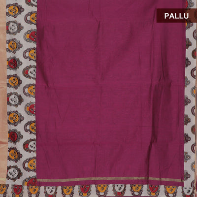 Mercerised Cotton Saree Pink and Beige with kalamkari border