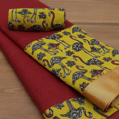 Mercerised Cotton Saree Maroon and yellow with kalamkari border
