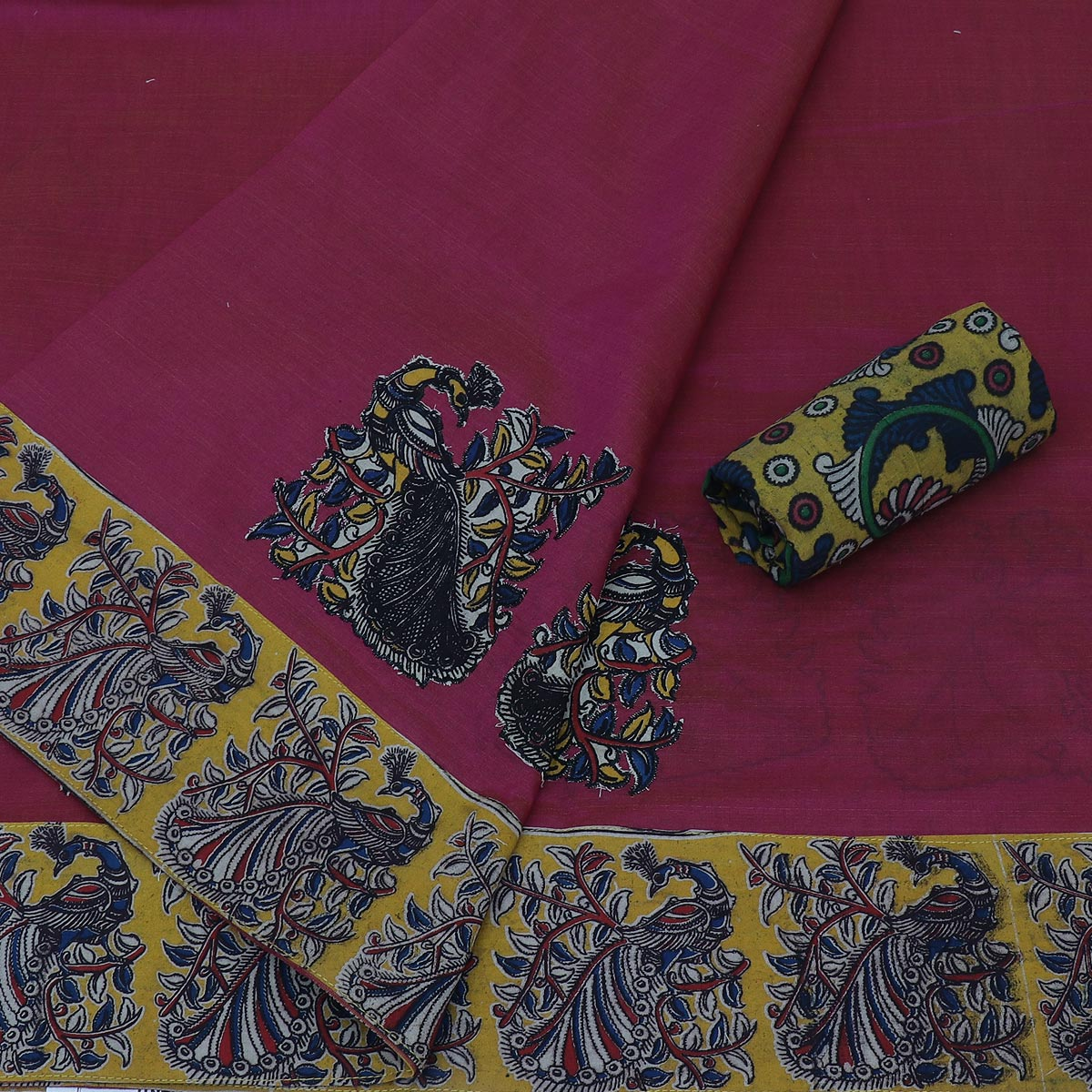 Kalamkari Saree Pink and yellow with kalamkari applique work