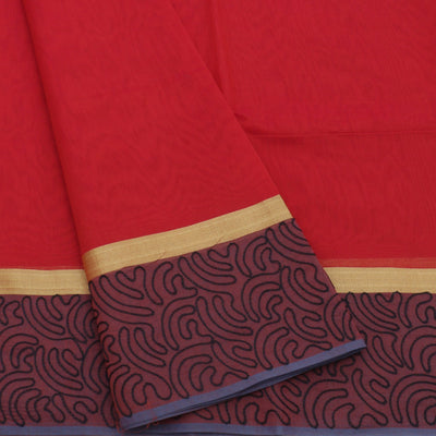 Mercerised Cotton Saree Maroon and Black with Aari work
